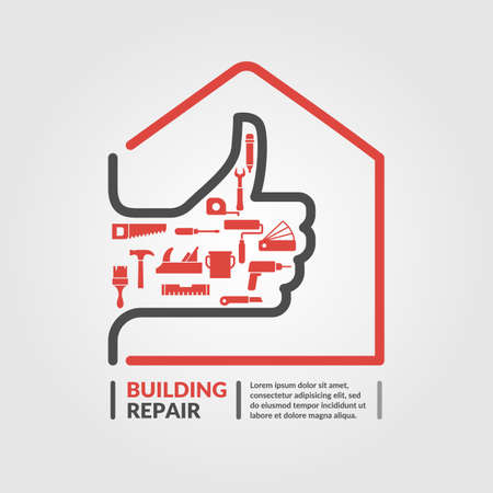 Building repair. Elements and icons for cards, illustration, poster and web design. Vettoriali