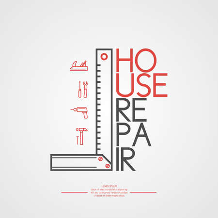 House repair. Elements and icons for cards, illustration, poster and web design.