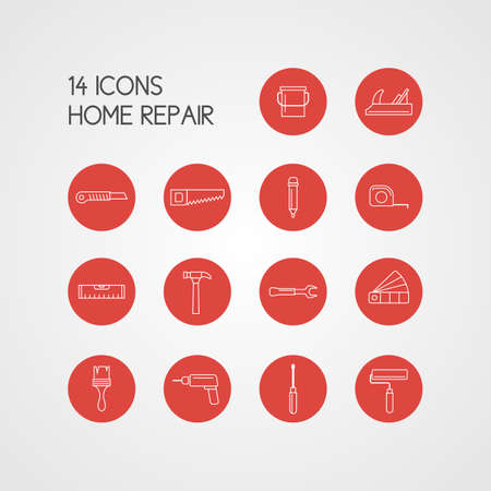 Icons. House repair. Elements and icons for cards, illustration, poster and web design. Vettoriali