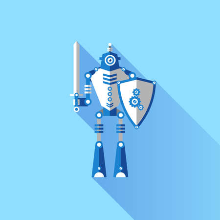 robot with shield: The robot knights. Elements for illustration and design.