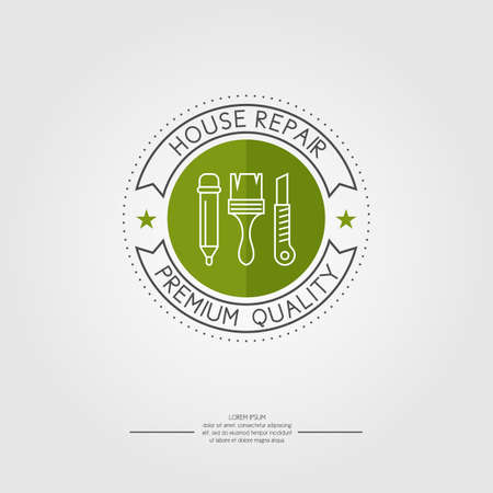 Logo. House repair. Elements and icons for cards, illustration, poster and web design.