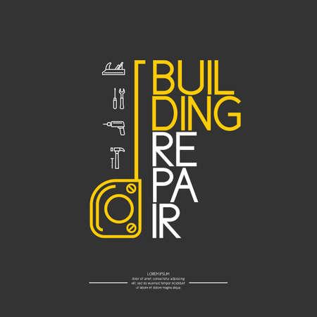 carpintero: Reparación de la casa. Elementos e iconos para tarjetas, ilustración, cartel y diseño web. Vectores