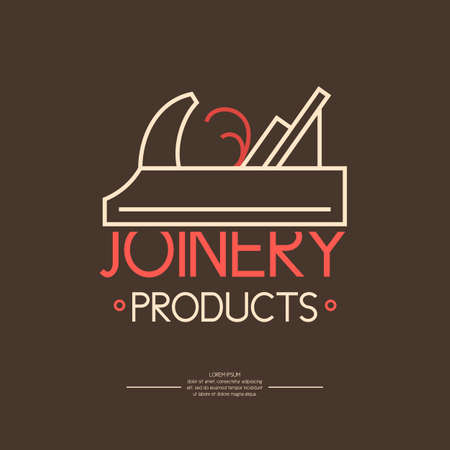 joinery: Joinery products. Logo carpentry workshop. Element for poster, advertising, showcases, design and web.