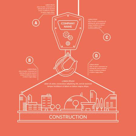 Construction. Infographies. Éléments pour les cartes, des illustrations, affiches et web design.