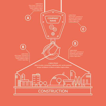 building site: Construction. Infographics. Elements for cards, illustration, poster and web design.