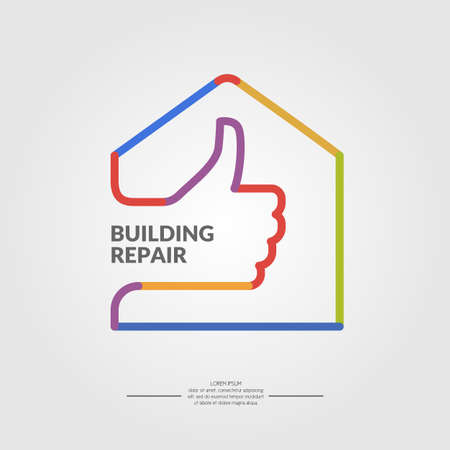 Building repair. Elements and icons for cards, illustration, poster and web design. Illusztráció