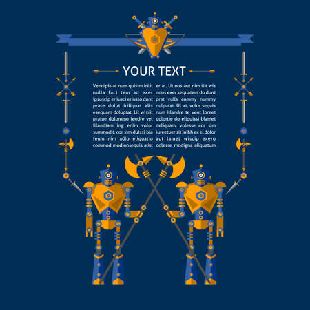 robot with shield: Robot knights. Background for your text. Sword, shield, arrows, battle axe, dagger, robot. Element for design and illustration.