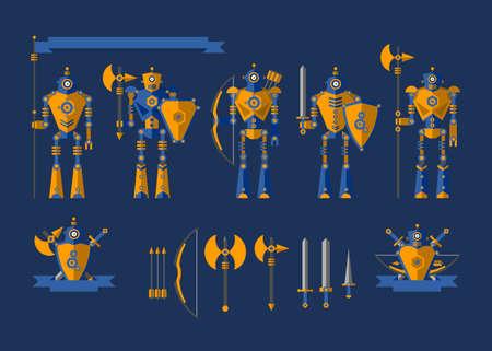 rycerz: Nastawić. Rycerze robota. Elementy dla ilustracji i projektowania. Tarcza, miecz, hełm, łuk, strzały, sztyletu, flaga, topór, pancerz. Ilustracja