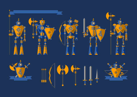 cartoon axe: Set. The robot knights. Elements for illustration and design. Shield, sword, helmet, bow, arrows, dagger, flag, axe, armor.