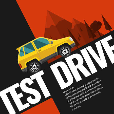 test drive: Test drive. Illustration and design for poster, Billboard and web.