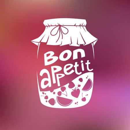 bon: Bon appetit. Jar of jam.