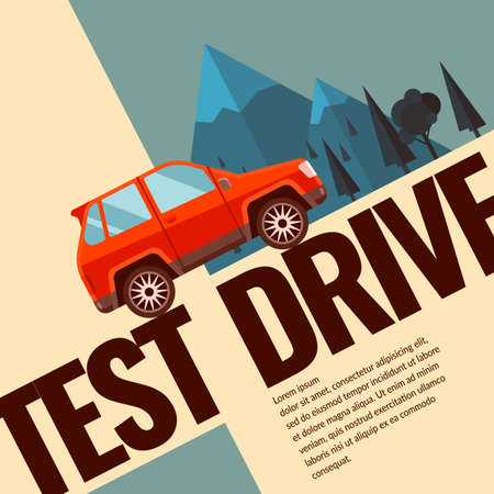 speed test: Test drive. Illustration and design for poster, Billboard and web.