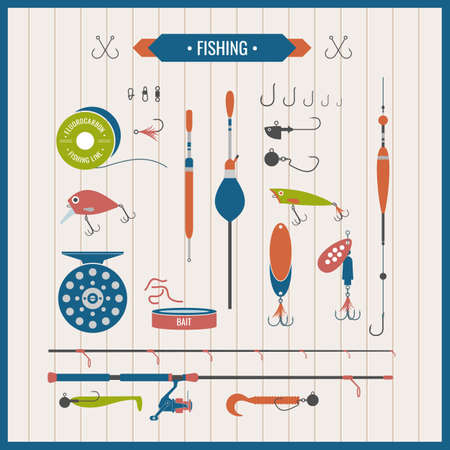 Set. Fishing tackle.Fishing reel, hooks, float, fishing line, lure, bait. Vector elements. Icons and illustrations for design, website, infographic, poster, advertising.