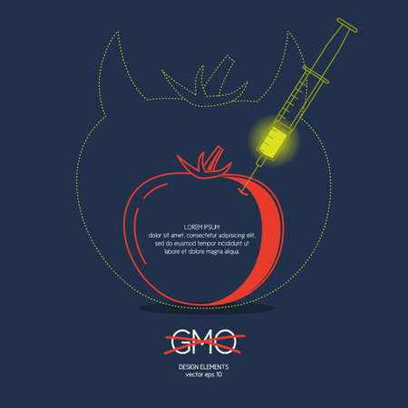toxic product: GMO, syringe, tomato. Icons and illustrations for design, website, infographic, poster, advertising. Illustration