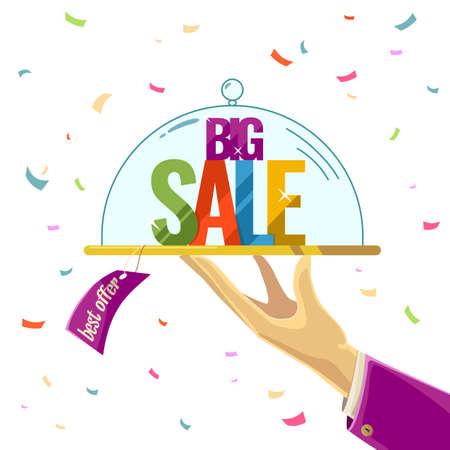 illustration for advertising: Best offer. Big sale. Illustration for advertising, design and web.
