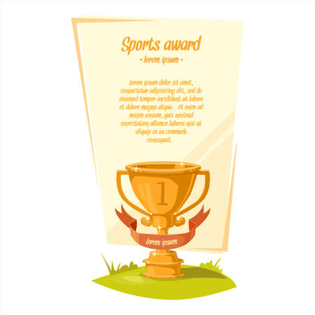 illustration for advertising: Cup. Sports award. Background for text. Illustration for advertising, poster, ads.