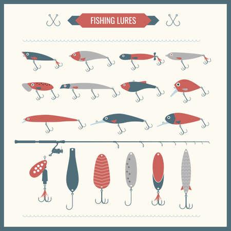 pesca: Conjunto. Aparejo de pescar. Barra de pesca, carrete de la pesca, ganchos. Los iconos y las ilustraciones para el diseño, la página web, infografía, cartel, publicidad.