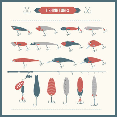 trout fishing: Set. Fishing tackle. Fishing rod, fishing reel, hooks. Icons and illustrations for design, website, infographic, poster, advertising.