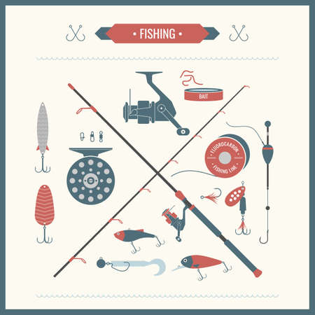 bass: Set. Fishing tackle.Fishing reel, hooks, float, fishing line, lure, bait. Vector elements. Icons and illustrations for design, website, infographic, poster, advertising.