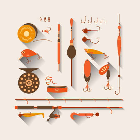 fishhook: Set. Fishing tackle.Fishing reel, hooks, float, fishing line, lure, bait. Vector elements. Icons and illustrations for design, website, infographic, poster, advertising.