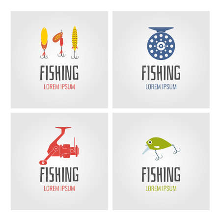 trout fishing: Set. Fishing. Logo and design element