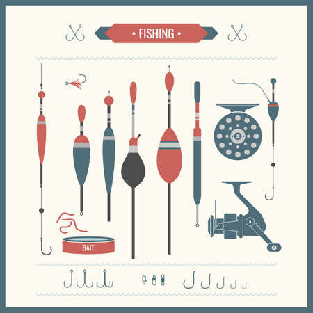 fishing reel: Set. Fishing tackle.Fishing reel, hooks, float, fishing line, lure, bait. Vector elements. Icons and illustrations for design, website, infographic, poster, advertising.