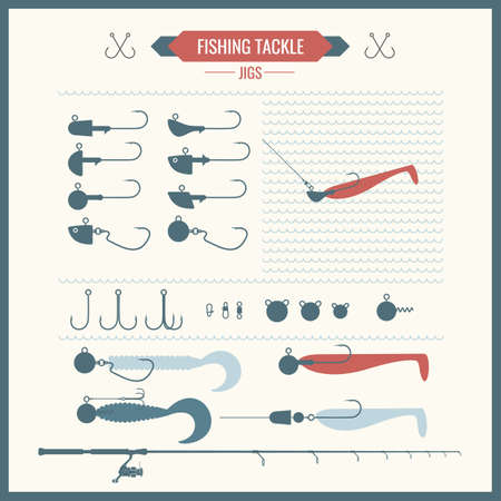 trout fishing: Set. Fishing tackle. Fishing rod, fishing reel, hooks, silicone bait, jigs. Vector elements. Icons and illustrations for design, website, infographic, poster, advertising. Illustration