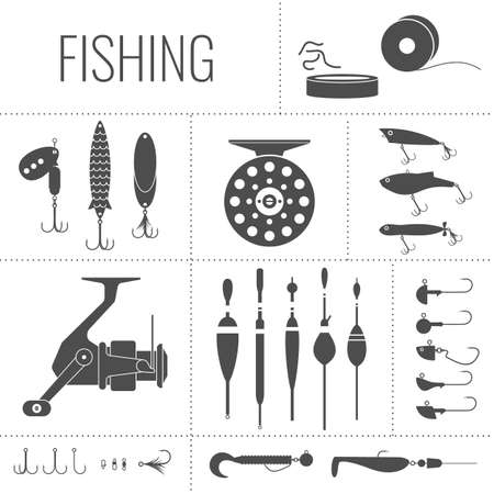Set. Fishing tackle.Fishing reel, hooks, float, fishing line, lure, bait.  Icons and illustrations for design, website, infographic, poster, advertising. Иллюстрация