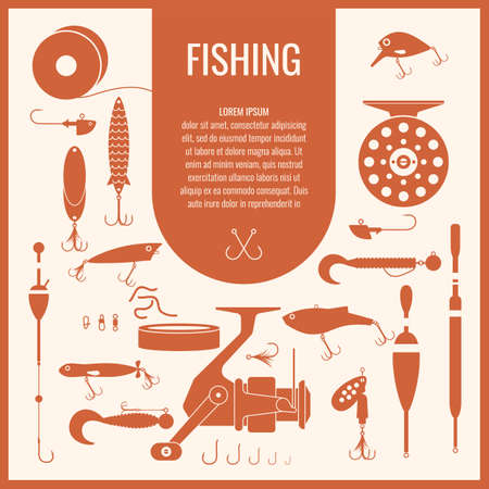 trout fishing: Set. Fishing tackle.Fishing reel, hooks, float, fishing line, lure, bait. Vector elements. Icons and illustrations for design, website, infographic, poster, advertising.