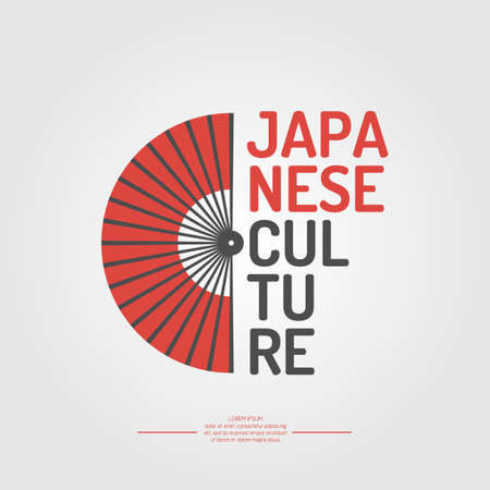 japanese flag: Poster. Japanese culture. Symbol of Japan. Elements and icons for cards, illustration, poster and web design.