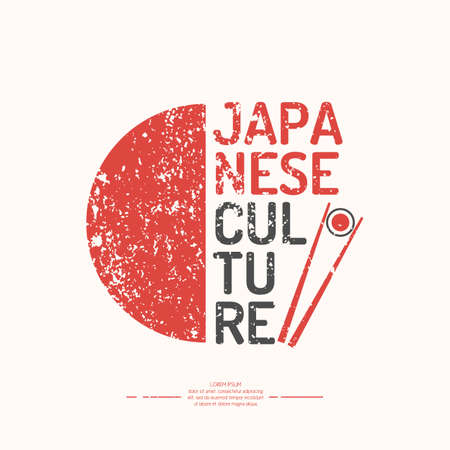 Poster. Japanese culture. Symbol of Japan. Elements and icons for cards, illustration, poster and web design.
