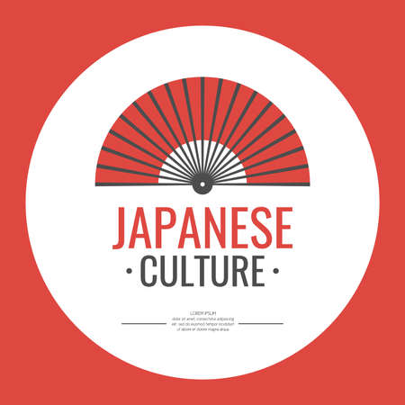 fan: Poster. Japanese culture. Symbol of Japan. Elements and icons for cards, illustration, poster and web design. Vector illustration.
