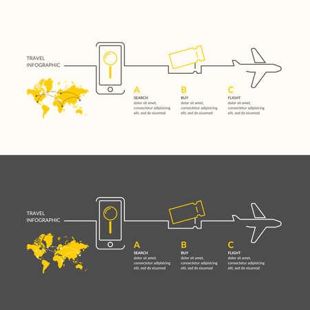 flucht: Reiseinfografiken. Kaufen Sie Flugtickets.