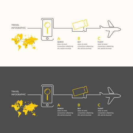 airplane ticket: Travel infographics. Buy air tickets. Illustration