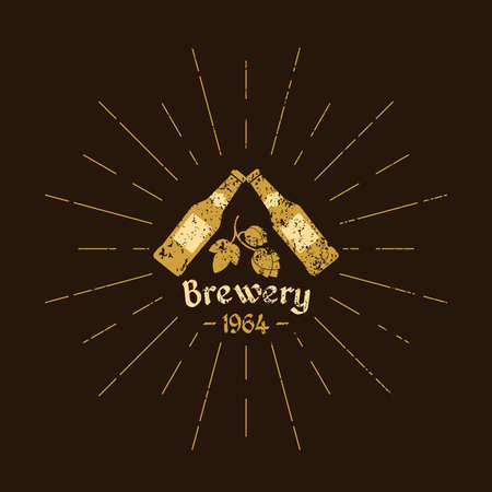 Vintage  beer. Brewery. Sign design, poster, advertising. Vector elements.