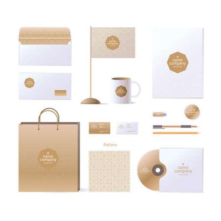 pen and paper:  design elements. Golden style. Envelope, business card, ornament, disk, pack, flag, mug, pencil, pen, paper, flash drive. Illustration