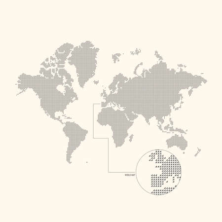 Dotted world map europe america india china japan russia africa 47416025 dotted world map vector illustration gumiabroncs Images