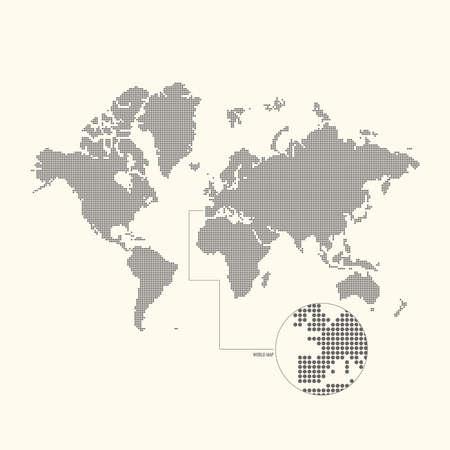 mapa de europa: mapa del mundo con puntos. Ilustración del vector. Vectores