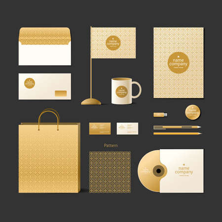 pen and paper: Corporate identity template. Logo and design elements. Golden style. Envelope, business card, ornament, disk, pack, flag, mug, pencil, pen, paper, flash drive.