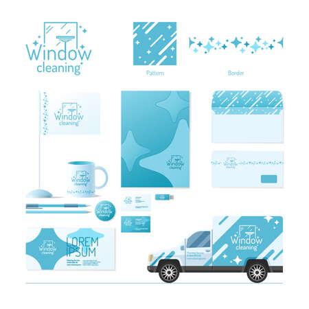 Bedrijfsidentiteit. Schoonmaak service. design elementen.