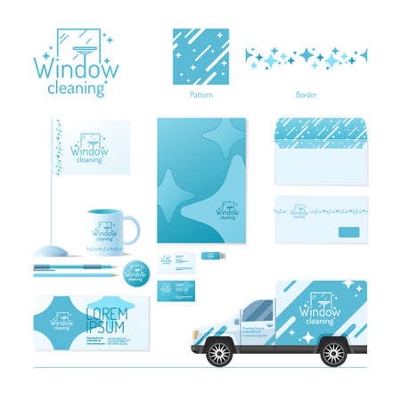 cleaning windows: Corporate identity. Cleaning service.   design elements.