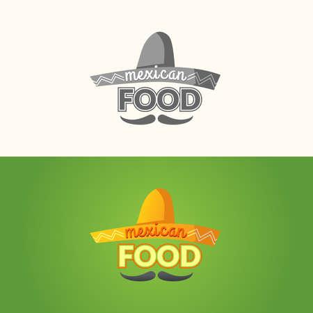 sombrero de charro: El de la comida mexicana. la comida mexicana, la señal para el restaurante. Ilustración del vector. Vectores