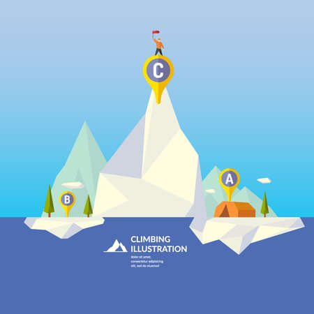 mountaineering: Mountaineering. Vector illustration of nature in the polygonal style.