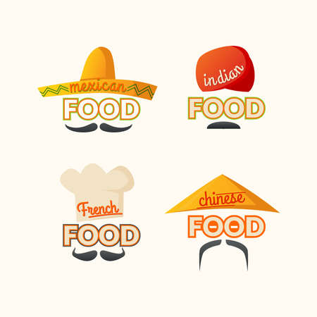 french cuisine:  set Mexican, Chinese, Indian, French cuisine, the sign for the restaurant. Different cuisines of the world. Vector illustration.