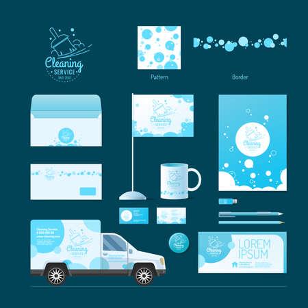 servicio domestico: Identidad corporativa. Servicio de limpieza. Logotipo y elementos de diseño. Vectores