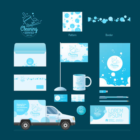 Corporate identity. Cleaning service. Logo and design elements. Illustration