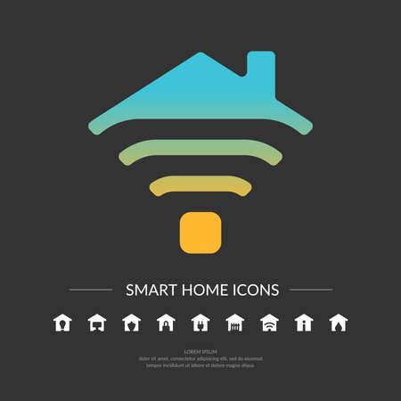 Conjunto. Iconos para el hogar inteligente. Elemento para tarjetas, ilustración, cartel y el diseño web. Ilustración de vector