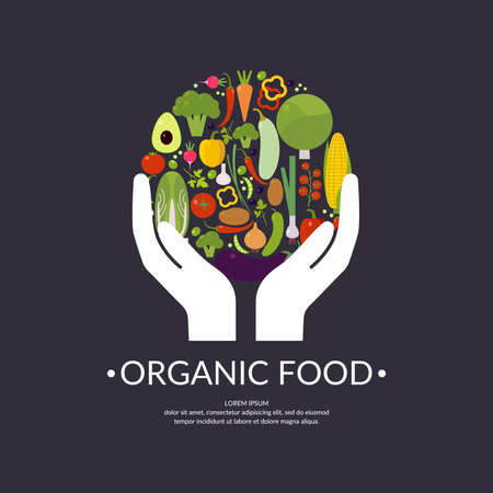 caring hands: Organic food. Fruits and vegetables. Hands a symbol of caring Cabbage, pepper, tomato, eggplant, onions, Chile, corn, carrots, garlic, olives, peas, avocado, potatoes, radishes, parsley, cucumber.