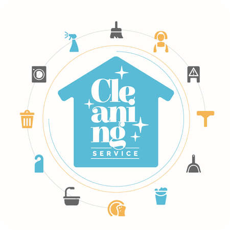 servicio domestico: Iconos conjunto. Servicio de limpieza. Elementos para el diseño y la web. Ilustración del vector.