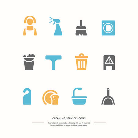 dirty carpet: Icons set. Cleaning service. Elements for design and web. Vector illustration. Illustration